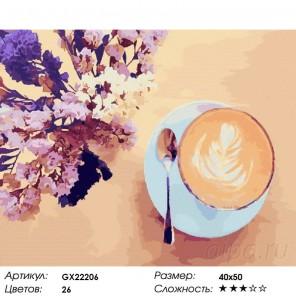 Количество цветов и сложность Утренний аромат Раскраска картина по номерам акриловыми красками на холсте