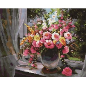 Букет на окне Алмазная мозаика вышивка на подрамнике Painting Diamond