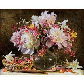 Букет цветов с вишней Раскраска картина по номерам акриловыми красками Schipper (Германия)