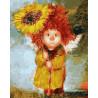Солнечный ангел с подсолнухом Раскраска картина по номерам акриловыми красками на холсте