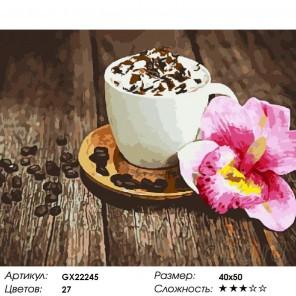 Количество цветов и сложность Кофе со сливками Раскраска картина по номерам акриловыми красками на холсте