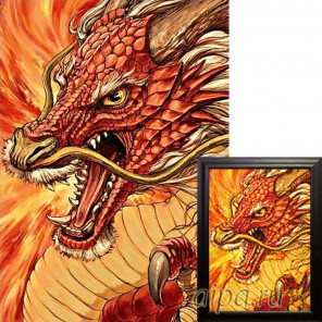Фрагмент крупно Китайский дракон Алмазная вышивка мозаика Гранни