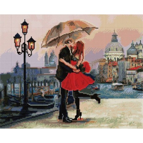 Поцелуй под зонтом Алмазная мозаика вышивка на подрамнике Painting Diamond