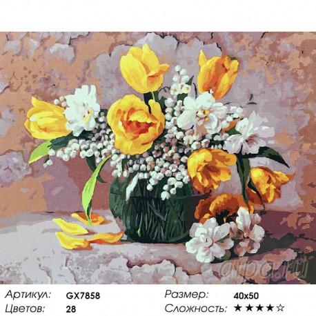Количество цветов и сложность Букет с ландышами и тюльпанами Раскраска картина по номерам акриловыми красками на холсте