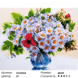 Количество цветов и сложность Букет из ромашек Раскраска картина по номерам акриловыми красками на холсте