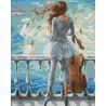 Море и виолончель Раскраска картина по номерам акриловыми красками на холсте