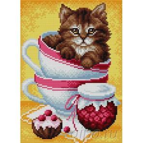 Котенок в чашке Алмазная мозаика на магнитной основе