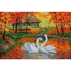 Лебеди на пруду Алмазная вышивка мозаика