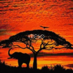 Огненный закат в саванне Алмазная вышивка мозаика Iteso