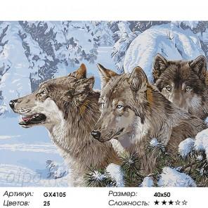 Количество цветов и сложность Волки в зимнем лесу Раскраска картина по номерам акриловыми красками на холсте