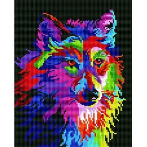 Радужный волк Алмазная мозаика на подрамнике