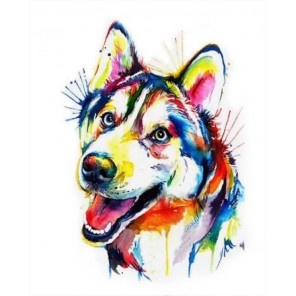 Разноцветный щенок Алмазная мозаика на подрамнике