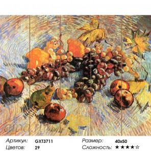 Количество цветов и сложность Натюрморт с яблоками и виноградом. Ван Гог Картина по номерам на дереве