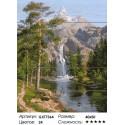 Водопад в горах Картина по номерам на дереве