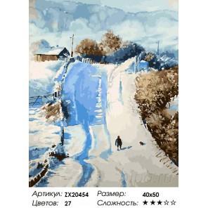 Количество цветов и сложность Снежная дорога Раскраска картина по номерам акриловыми красками на холсте