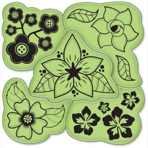 Цветы (5 шт)Набор резиновых штампов для скрапбукинга, кардмейкинга Inkadinkado