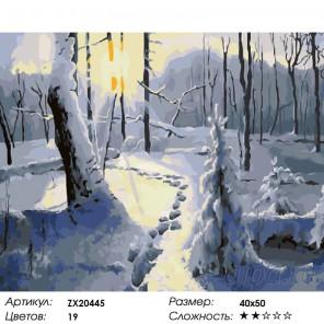 Зимний лес Раскраска картина по номерам на холсте