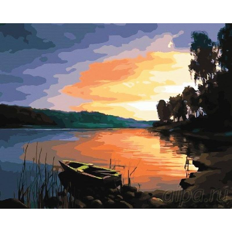 Раскраска по номерам Закат на озере картина 40х50 см на ...