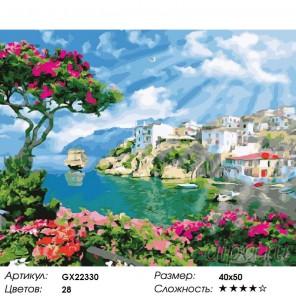 Количество цветов и сложность Адриатика Раскраска картина по номерам акриловыми красками на холсте