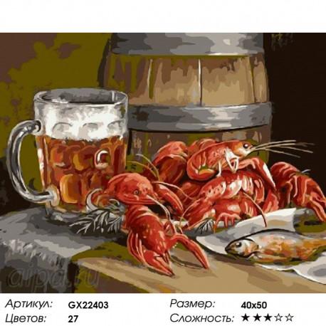 Количество цветов и сложность Пиво и раки Раскраска картина по номерам акриловыми красками на холсте