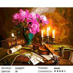 Количество цветов и сложность Музыка при свечах Раскраска картина по номерам акриловыми красками на холсте