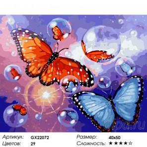 Количество цветов и сложность Пара бабочек Волчий вой Раскраска картина по номерам акриловыми красками на холсте