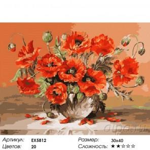 Количество цветов и сложность Махровые маки Раскраска картина по номерам на холсте