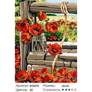 Количество цветов и сложность Маки у колодца Раскраска картина по номерам на холсте