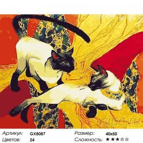 Сиамские кошки Раскраска картина по номерам на холсте