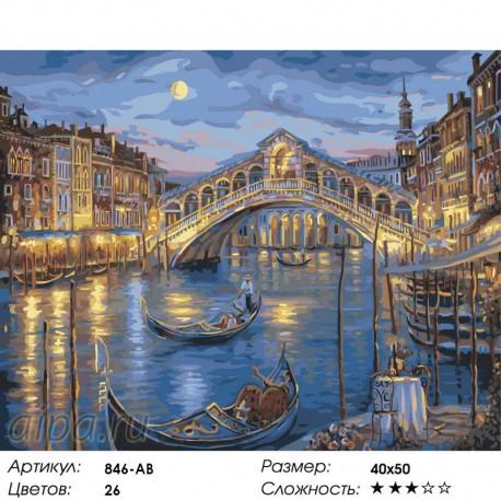 Количество цветов и сложность Венецианская ночь Раскраска ( картина ) по номерам на холсте Белоснежка