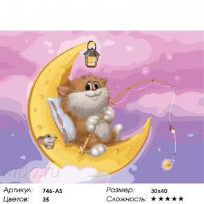 Котик на Луне Раскраска ( картина ) по номерам на холсте Белоснежка