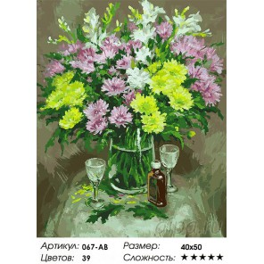 Осенние хризантемы Раскраска ( картина ) по номерам на холсте Белоснежка