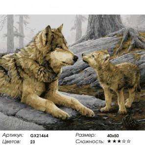 Количество цветов и сложность Волчица и волченок Раскраска картина по номерам на холсте