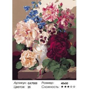 Количество цветов и сложность Розы и анютины глазки Раскраска картина по номерам на холсте