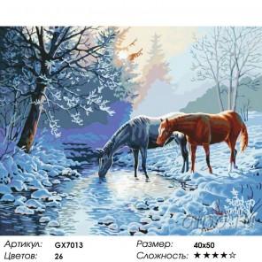Количество цветов и сложность Лошади морозным утром Раскраска картина по номерам на холсте
