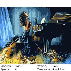 Количество цветов и сложность Страсть к музыке Раскраска картина по номерам на холсте