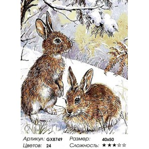 Количество цветов и сложность Два зайца Раскраска картина по номерам на холсте