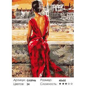 Количество цветов и сложность Леди в красном Раскраска картина по номерам на холсте