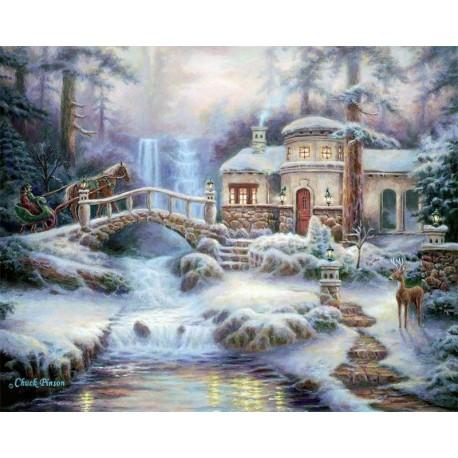 Зимняя река Раскраска картина по номерам на холсте