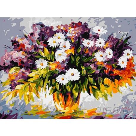 Разноцветный букет Раскраска картина по номерам на холсте
