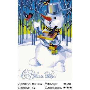 Количество цветов и сложность Снеговик и снегири Раскраска по номерам на холсте Menglei
