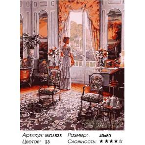 Количество цветов и сложность Графиня у окна Раскраска по номерам на холсте Menglei