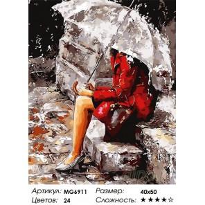 Количество цветов и сложность Девушка на крыльце Раскраска по номерам на холсте Menglei