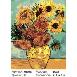 Ваза с двенадцатью подсолнухами. Ван Гог Раскраска картина по номерам на холсте Menglei