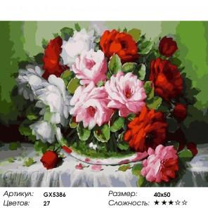 Количество цветов и сложность Крупные розы Раскраска картина по номерам на холсте