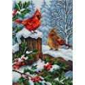 Птицы в зимнем лесу Алмазная мозаика на магнитной основе