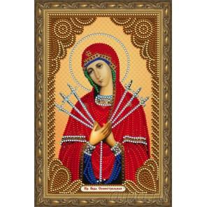 В рамке Пресвятая Богородица Семистрельная Алмазная частичная мозаика на подрамнике Color Kit