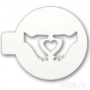 Сердце в руках Трафарет для кофе и десертов