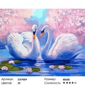 Количество цветов и сложность Лебединая нежность Раскраска картина по номерам на холсте