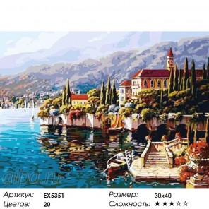 Итальянский берег Раскраска картина по номерам на холсте